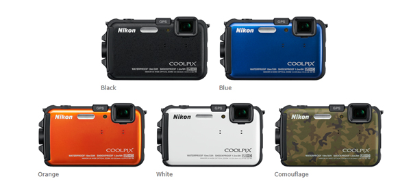 Nikon Coolpix AW100 Colours