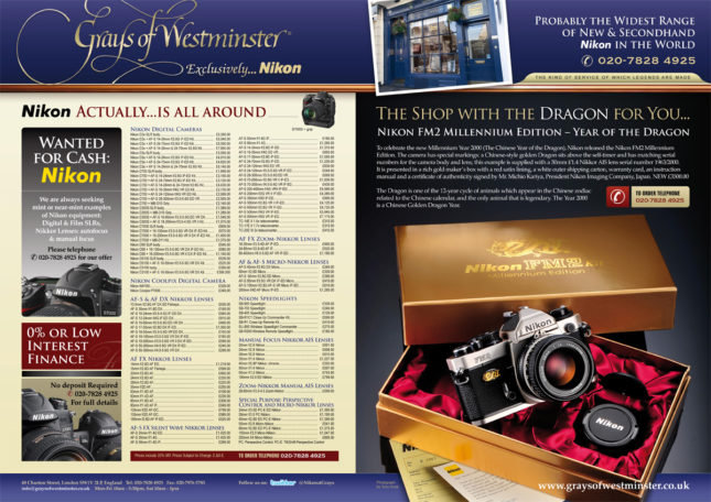 AP & Digital SLR Photography - Grays of Westminster Advert