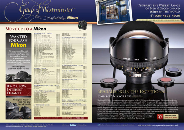 13mm f/5.6 Nikkor lens Advert for AP Magazine