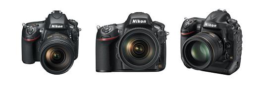 Nikon D800, D800E and D4