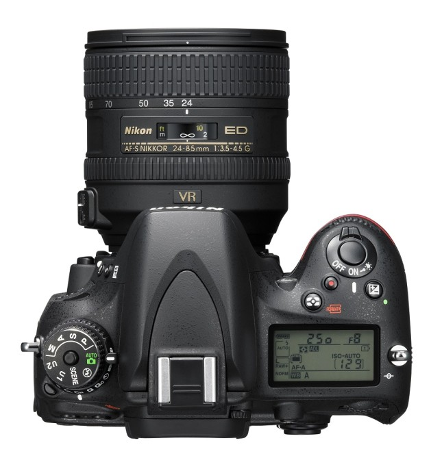 The Nikon D610, top view