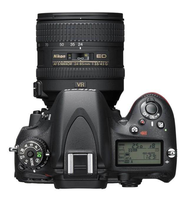 The Nikon D610, top view