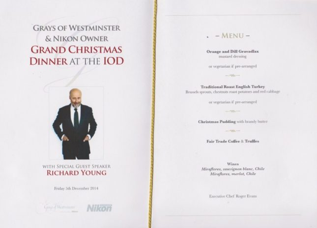 Grays of Westminster Christmas Dinner: The Menu
