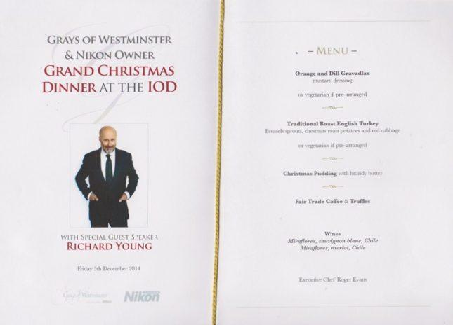 Grays of Westminster Christmas Dinner: The Menu