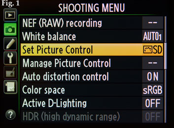 Fig. 1: 'Set Picture Control' and below it 'Manage Picture Control' can be found in the shooting menu.